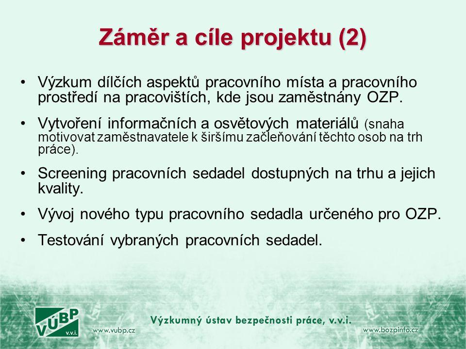 Záměr a cíle projektu (2) •Výzkum dílčích aspektů pracovního místa a pracovního prostředí na pracovištích, kde jsou zaměstnány OZP. •Vytvoření informa