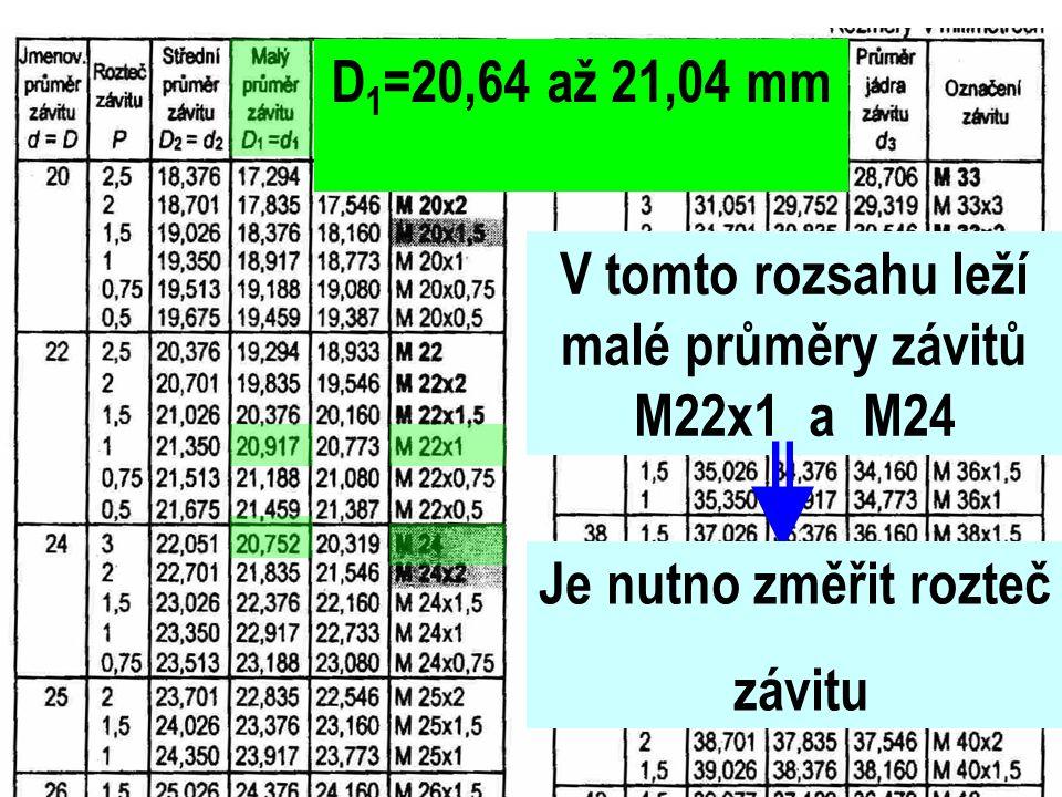 D 1 =20,64 až 21,04 mm V tomto rozsahu leží malé průměry závitů M22x1 a M24 Je nutno změřit rozteč závitu
