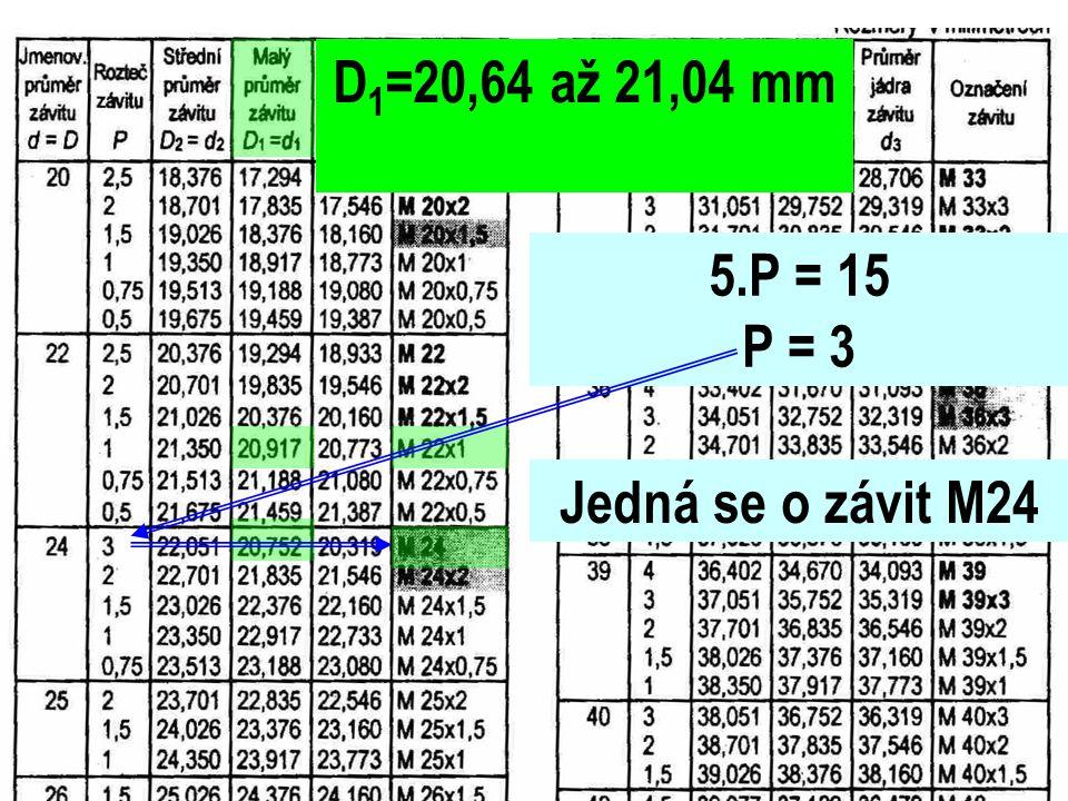D 1 =20,64 až 21,04 mm 5.P = 15 P = 3 Jedná se o závit M24