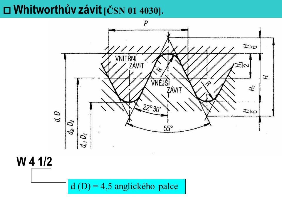  Whitworthův závit [ČSN 01 4030]. W 4 1/2 d (D) = 4,5 anglického palce