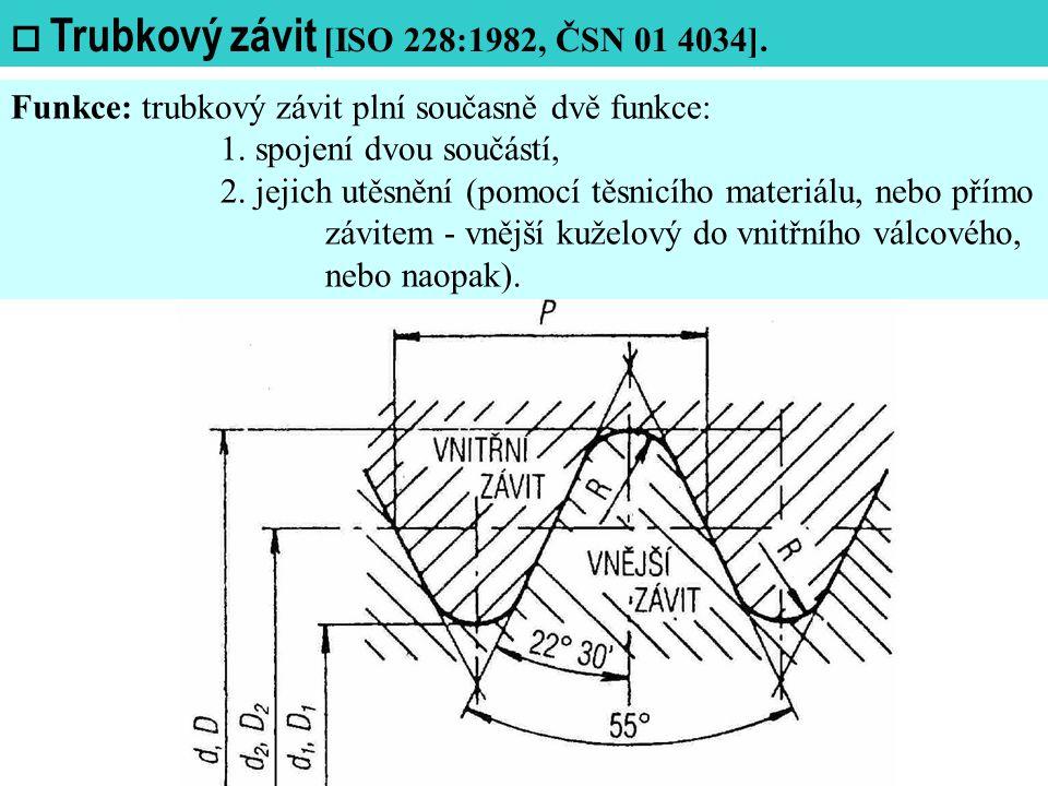  Trubkový závit [ISO 228:1982, ČSN 01 4034].Funkce: trubkový závit plní současně dvě funkce: 1.