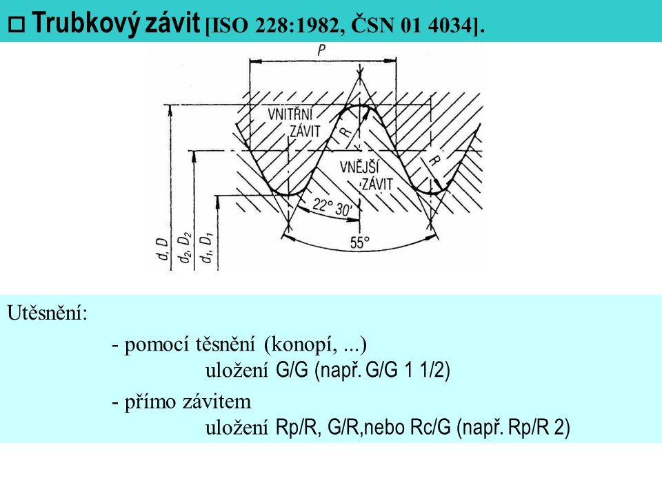 Utěsnění:  Trubkový závit [ISO 228:1982, ČSN 01 4034].