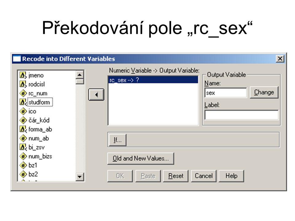 """Překodování pole """"rc_sex"""