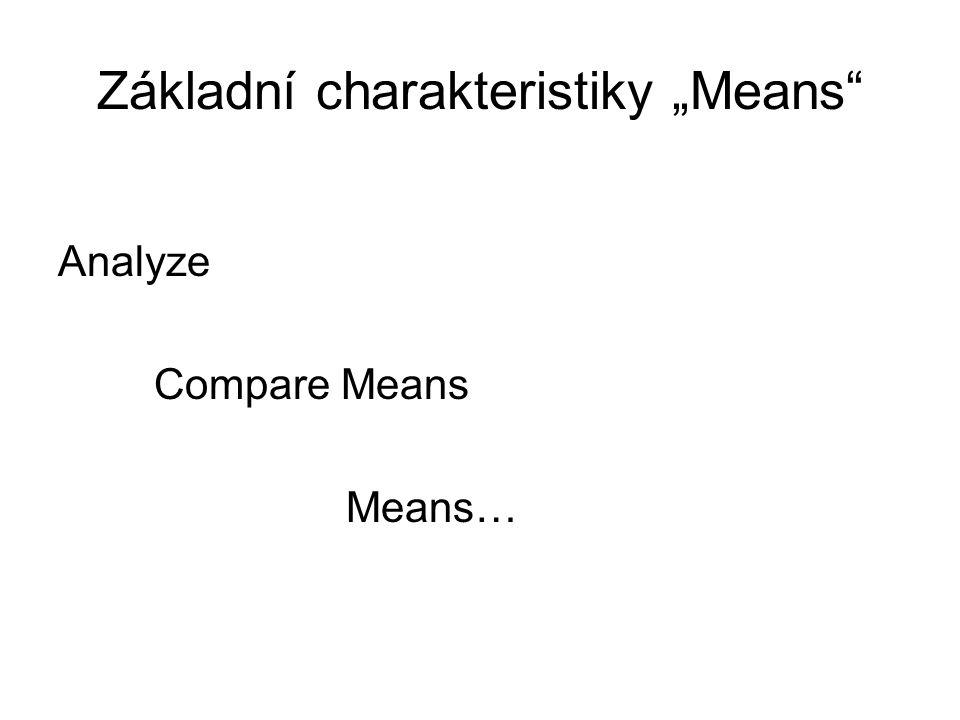 """Základní charakteristiky """"Means Analyze Compare Means Means…"""