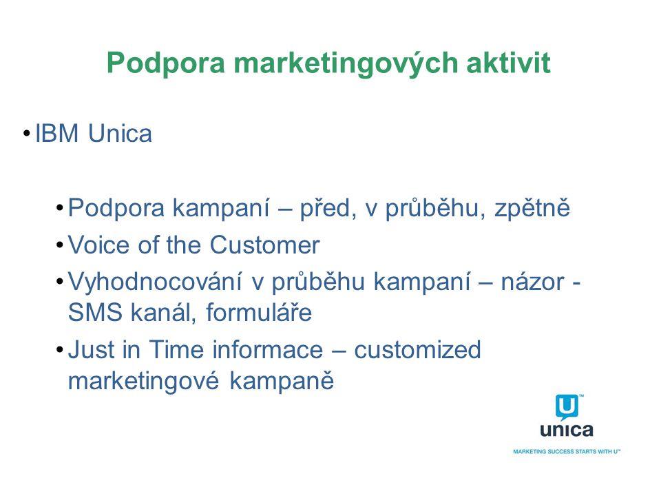Podpora marketingových aktivit •IBM Unica •Podpora kampaní – před, v průběhu, zpětně •Voice of the Customer •Vyhodnocování v průběhu kampaní – názor -
