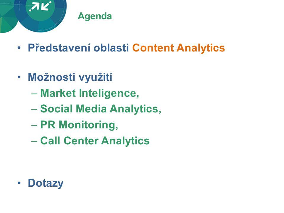 Agenda •Představení oblasti Content Analytics •Možnosti využití –Market Inteligence, –Social Media Analytics, –PR Monitoring, –Call Center Analytics •