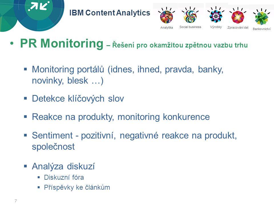 •PR Monitoring – Řešení pro okamžitou zpětnou vazbu trhu  Monitoring portálů (idnes, ihned, pravda, banky, novinky, blesk …)  Detekce klíčových slov