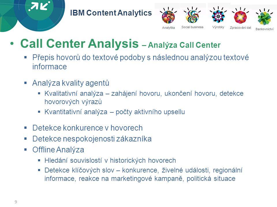 9 •Call Center Analysis – Analýza Call Center  Přepis hovorů do textové podoby s následnou analýzou textové informace  Analýza kvality agentů  Kval