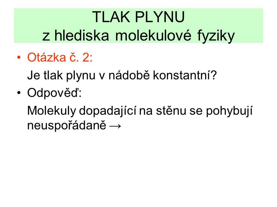 TLAK PLYNU z hlediska molekulové fyziky •Otázka č.