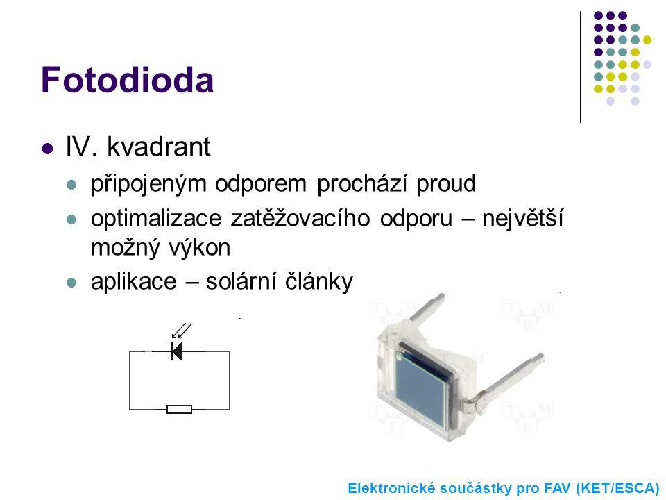 Fotodioda  IV. kvadrant  připojeným odporem prochází proud  optimalizace zatěžovacího odporu – největší možný výkon  aplikace – solární články Ele