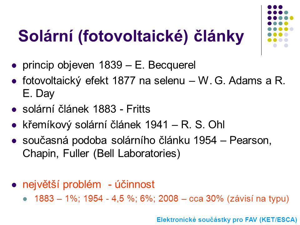 Solární (fotovoltaické) články  princip objeven 1839 – E. Becquerel  fotovoltaický efekt 1877 na selenu – W. G. Adams a R. E. Day  solární článek 1