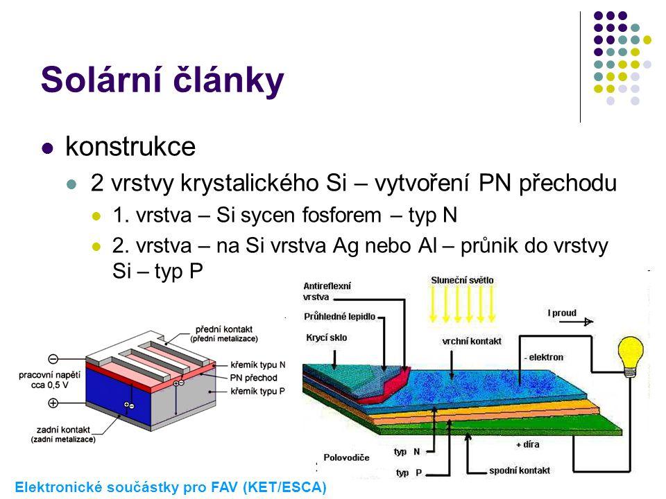 Solární články  konstrukce  2 vrstvy krystalického Si – vytvoření PN přechodu  1. vrstva – Si sycen fosforem – typ N  2. vrstva – na Si vrstva Ag