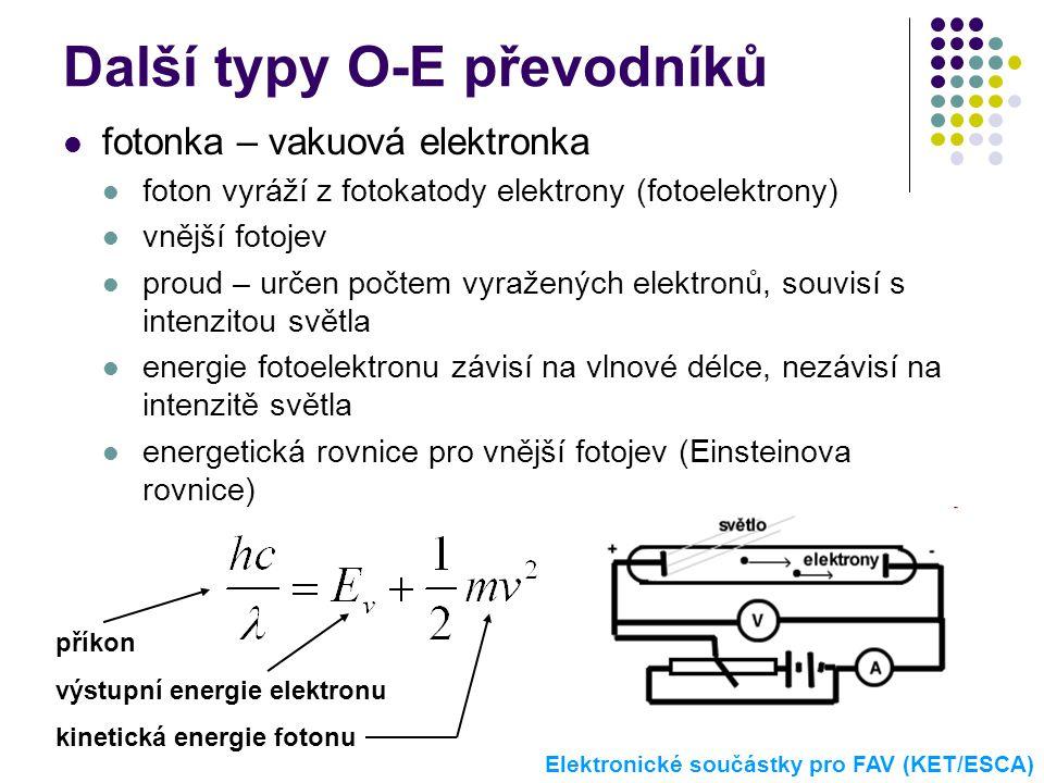 Další typy O-E převodníků  fotonka – vakuová elektronka  foton vyráží z fotokatody elektrony (fotoelektrony)  vnější fotojev  proud – určen počtem