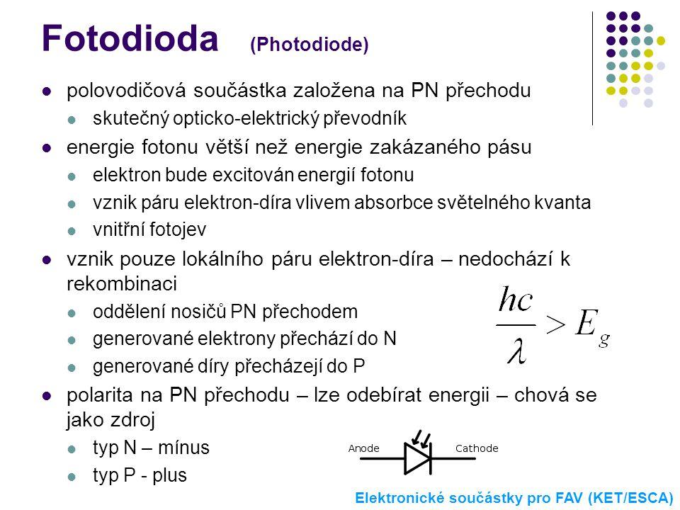 Fotodioda (Photodiode)  polovodičová součástka založena na PN přechodu  skutečný opticko-elektrický převodník  energie fotonu větší než energie zak
