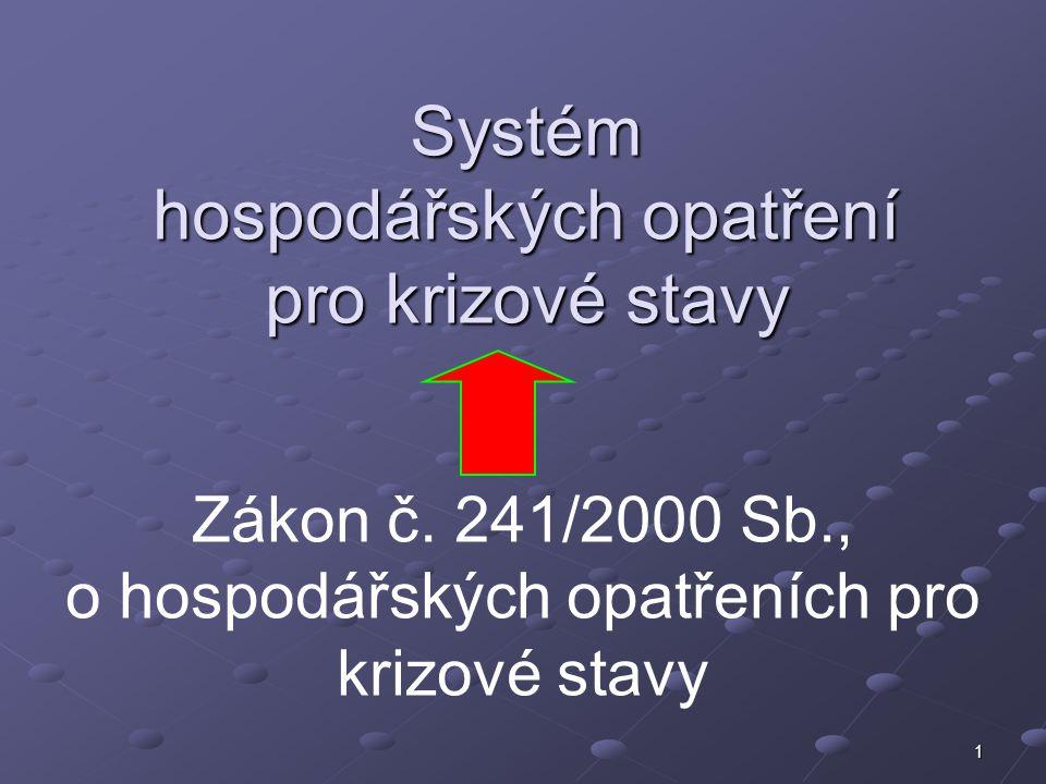 1 Systém hospodářských opatření pro krizové stavy Zákon č. 241/2000 Sb., o hospodářských opatřeních pro krizové stavy