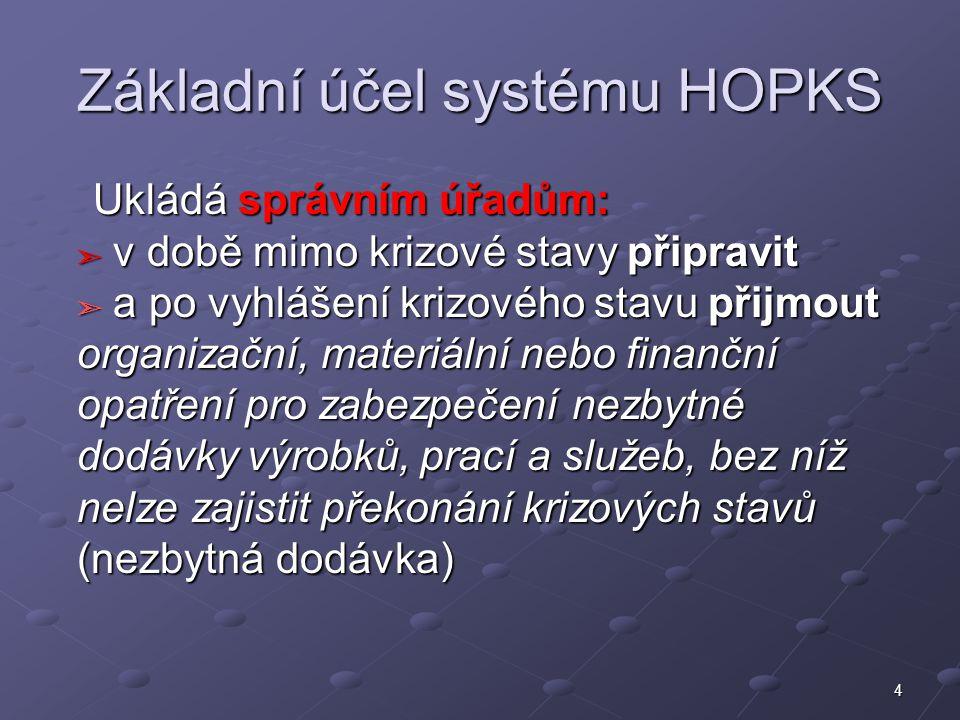 4 Základní účel systému HOPKS Ukládá správním úřadům: ➣ v době mimo krizové stavy připravit ➣ a po vyhlášení krizového stavu přijmout organizační, mat