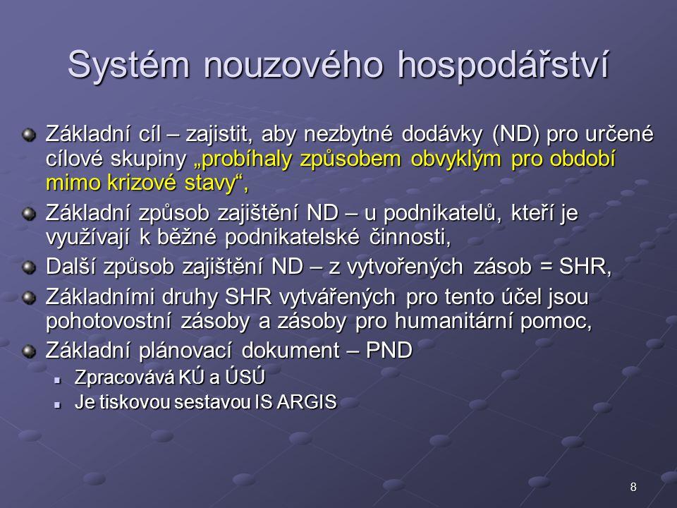 9 Systém hospodářské mobilizace Systém k podpoře požadavků oz.