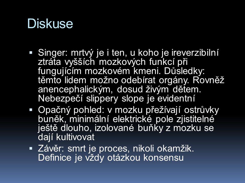 Diskuse  Singer: mrtvý je i ten, u koho je ireverzibilní ztráta vyšších mozkových funkcí při fungujícím mozkovém kmeni.