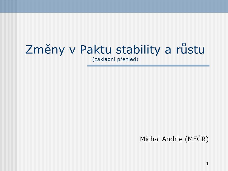 1 Změny v Paktu stability a růstu (základní přehled) Michal Andrle (MFČR)