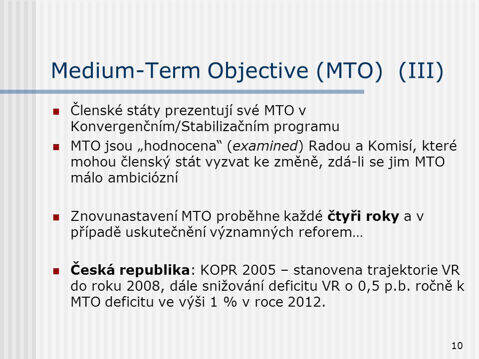"""10 Medium-Term Objective (MTO) (III)  Členské státy prezentují své MTO v Konvergenčním/Stabilizačním programu  MTO jsou """"hodnocena (examined) Radou a Komisí, které mohou členský stát vyzvat ke změně, zdá-li se jim MTO málo ambiciózní  Znovunastavení MTO proběhne každé čtyři roky a v případě uskutečnění významných reforem…  Česká republika: KOPR 2005 – stanovena trajektorie VR do roku 2008, dále snižování deficitu VR o 0,5 p.b."""