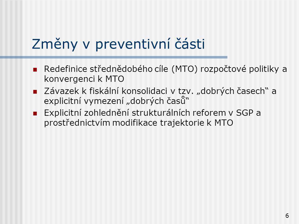 6 Změny v preventivní části  Redefinice střednědobého cíle (MTO) rozpočtové politiky a konvergenci k MTO  Závazek k fiskální konsolidaci v tzv.
