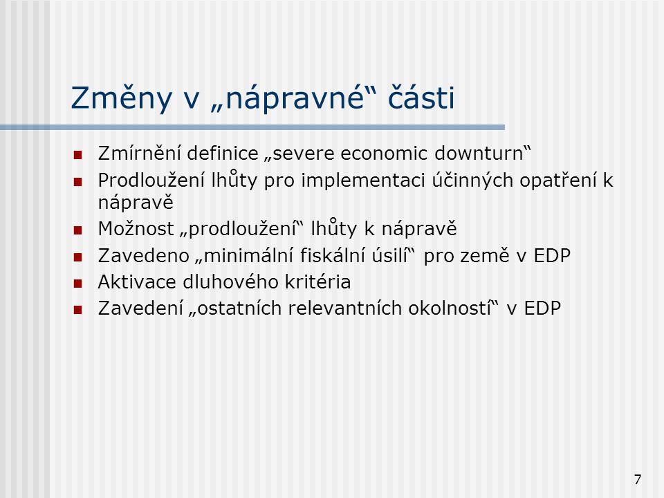 """7 Změny v """"nápravné části  Zmírnění definice """"severe economic downturn  Prodloužení lhůty pro implementaci účinných opatření k nápravě  Možnost """"prodloužení lhůty k nápravě  Zavedeno """"minimální fiskální úsilí pro země v EDP  Aktivace dluhového kritéria  Zavedení """"ostatních relevantních okolností v EDP"""