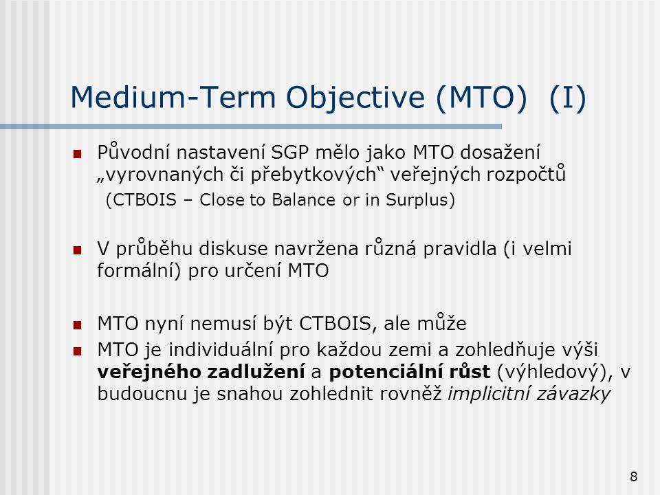 """8 Medium-Term Objective (MTO) (I)  Původní nastavení SGP mělo jako MTO dosažení """"vyrovnaných či přebytkových veřejných rozpočtů (CTBOIS – Close to Balance or in Surplus)  V průběhu diskuse navržena různá pravidla (i velmi formální) pro určení MTO  MTO nyní nemusí být CTBOIS, ale může  MTO je individuální pro každou zemi a zohledňuje výši veřejného zadlužení a potenciální růst (výhledový), v budoucnu je snahou zohlednit rovněž implicitní závazky"""
