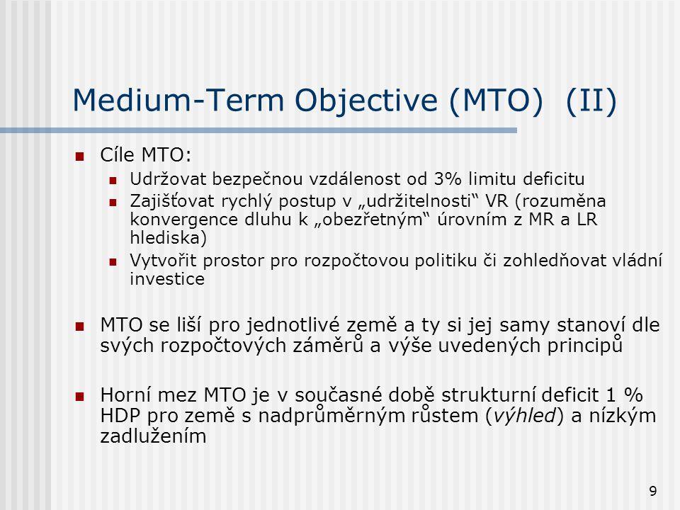 """9 Medium-Term Objective (MTO) (II)  Cíle MTO:  Udržovat bezpečnou vzdálenost od 3% limitu deficitu  Zajišťovat rychlý postup v """"udržitelnosti VR (rozuměna konvergence dluhu k """"obezřetným úrovním z MR a LR hlediska)  Vytvořit prostor pro rozpočtovou politiku či zohledňovat vládní investice  MTO se liší pro jednotlivé země a ty si jej samy stanoví dle svých rozpočtových záměrů a výše uvedených principů  Horní mez MTO je v současné době strukturní deficit 1 % HDP pro země s nadprůměrným růstem (výhled) a nízkým zadlužením"""