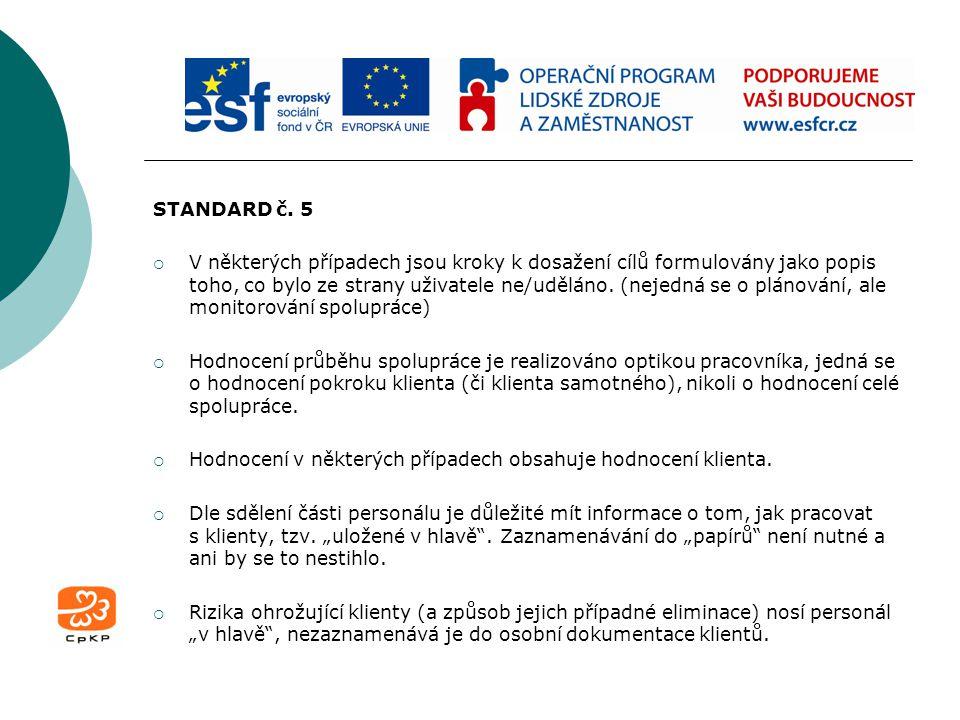STANDARD č. 5  V některých případech jsou kroky k dosažení cílů formulovány jako popis toho, co bylo ze strany uživatele ne/uděláno. (nejedná se o pl