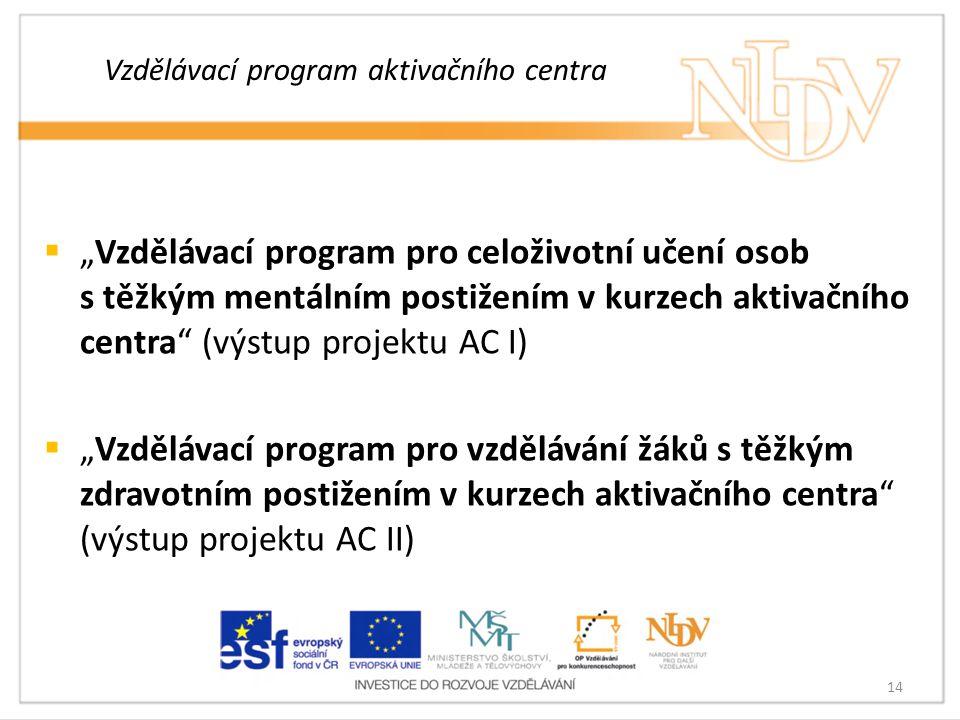 """Vzdělávací program aktivačního centra  """"Vzdělávací program pro celoživotní učení osob s těžkým mentálním postižením v kurzech aktivačního centra"""" (vý"""