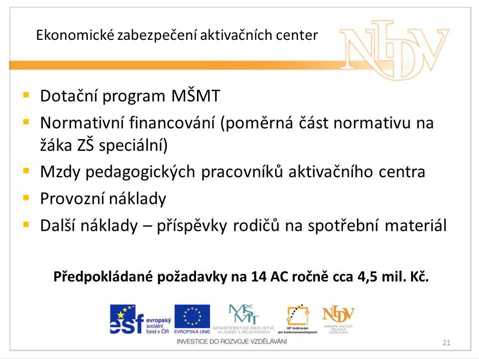 Ekonomické zabezpečení aktivačních center  Dotační program MŠMT  Normativní financování (poměrná část normativu na žáka ZŠ speciální)  Mzdy pedagog