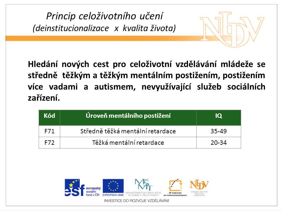 Princip celoživotního učení (deinstitucionalizace x kvalita života) Hledání nových cest pro celoživotní vzdělávání mládeže se středně těžkým a těžkým