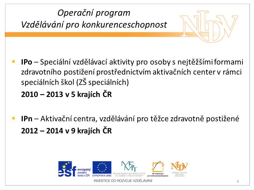 Operační program Vzdělávání pro konkurenceschopnost  IPo – Speciální vzdělávací aktivity pro osoby s nejtěžšími formami zdravotního postižení prostře