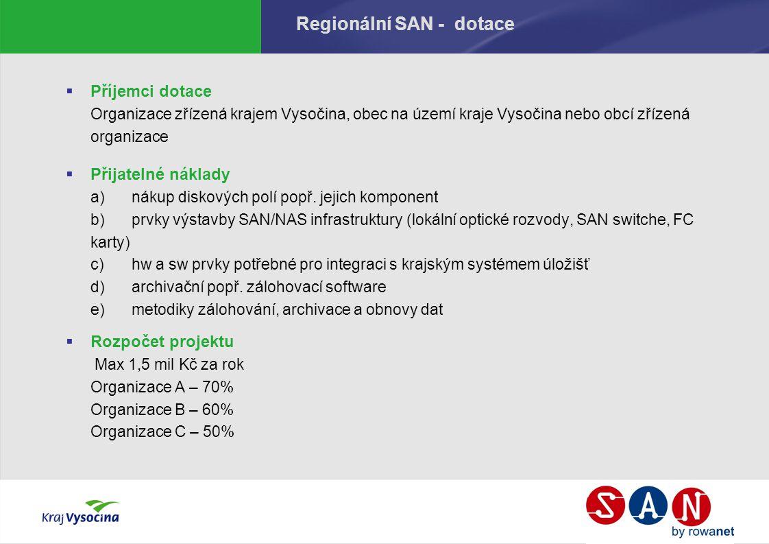 Regionální SAN - dotace  Příjemci dotace Organizace zřízená krajem Vysočina, obec na území kraje Vysočina nebo obcí zřízená organizace  Přijatelné náklady a)nákup diskových polí popř.