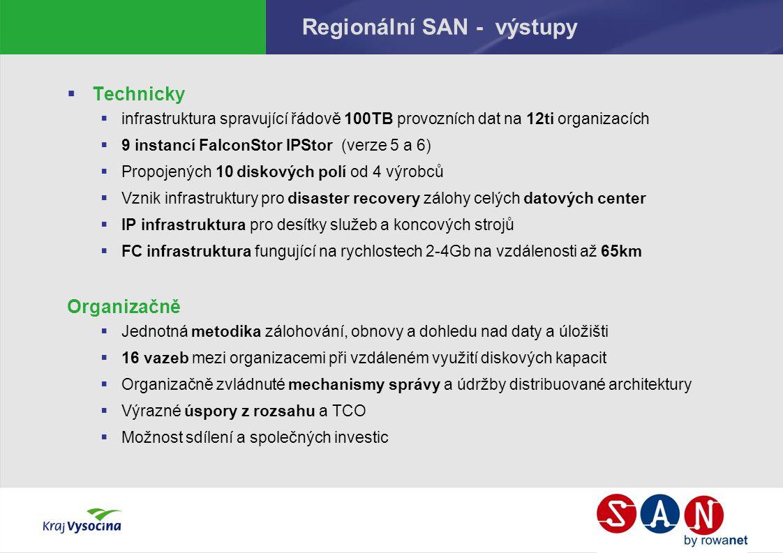 Regionální SAN - výstupy  Technicky  infrastruktura spravující řádově 100TB provozních dat na 12ti organizacích  9 instancí FalconStor IPStor (verze 5 a 6)  Propojených 10 diskových polí od 4 výrobců  Vznik infrastruktury pro disaster recovery zálohy celých datových center  IP infrastruktura pro desítky služeb a koncových strojů  FC infrastruktura fungující na rychlostech 2-4Gb na vzdálenosti až 65km Organizačně  Jednotná metodika zálohování, obnovy a dohledu nad daty a úložišti  16 vazeb mezi organizacemi při vzdáleném využití diskových kapacit  Organizačně zvládnuté mechanismy správy a údržby distribuované architektury  Výrazné úspory z rozsahu a TCO  Možnost sdílení a společných investic