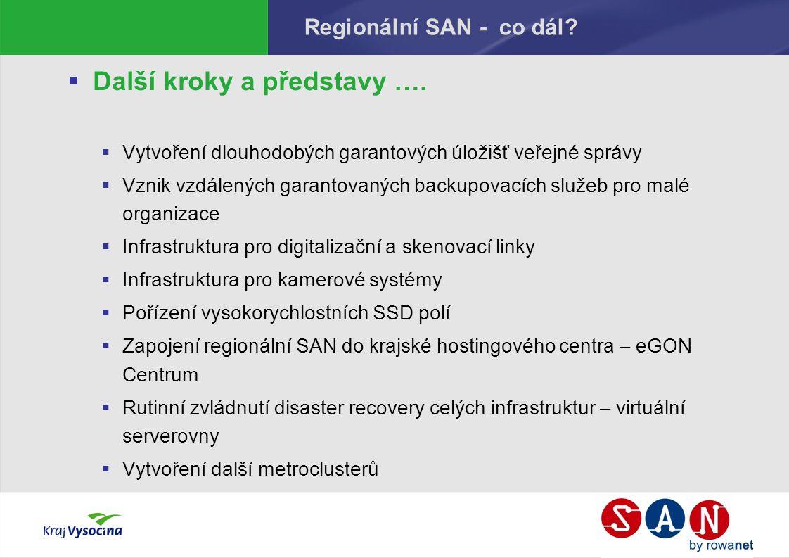 Regionální SAN - co dál.  Další kroky a představy ….