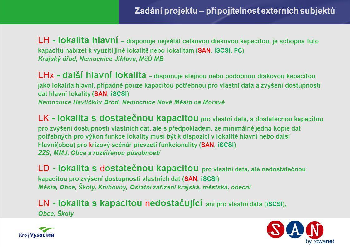 Zadání projektu – připojitelnost externích subjektů LH - lokalita hlavní – disponuje největší celkovou diskovou kapacitou, je schopna tuto kapacitu nabízet k využití jiné lokalitě nebo lokalitám (SAN, iSCSI, FC) Krajský úřad, Nemocnice Jihlava, MěÚ MB LHx - další hlavní lokalita – disponuje stejnou nebo podobnou diskovou kapacitou jako lokalita hlavní, případně pouze kapacitou potřebnou pro vlastní data a zvýšení dostupnosti dat hlavní lokality (SAN, iSCSI) Nemocnice Havlíčkův Brod, Nemocnice Nové Město na Moravě LK - lokalita s dostatečnou kapacitou pro vlastní data, s dostatečnou kapacitou pro zvýšení dostupnosti vlastních dat, ale s předpokladem, že minimálně jedna kopie dat potřebných pro výkon funkce lokality musí být k dispozici v lokalitě hlavní nebo další hlavní(obou) pro krizový scénář převzetí funkcionality (SAN, iSCSI) ZZS, MMJ, Obce s rozšířenou působností LD - lokalita s dostatečnou kapacitou pro vlastní data, ale nedostatečnou kapacitou pro zvýšení dostupnosti vlastních dat (SAN, iSCSI) Města, Obce, Školy, Knihovny, Ostatní zařízení krajská, městská, obecní LN - lokalita s kapacitou nedostačující ani pro vlastní data (iSCSI), Obce, Školy