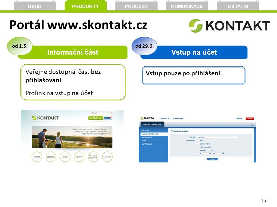 15 Portál www.skontakt.cz Informační částVstup na účet Veřejně dostupná část bez přihlašování Prolink na vstup na účet od 1.5.od 29.6. Vstup pouze po