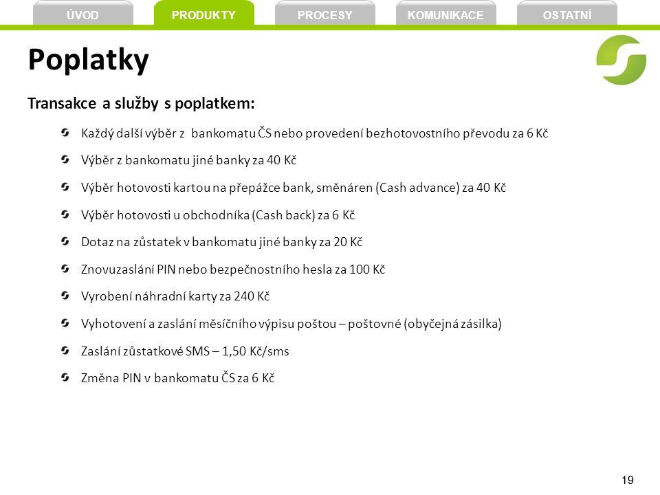 19 Poplatky Transakce a služby s poplatkem: Každý další výběr z bankomatu ČS nebo provedení bezhotovostního převodu za 6 Kč Výběr z bankomatu jiné ban