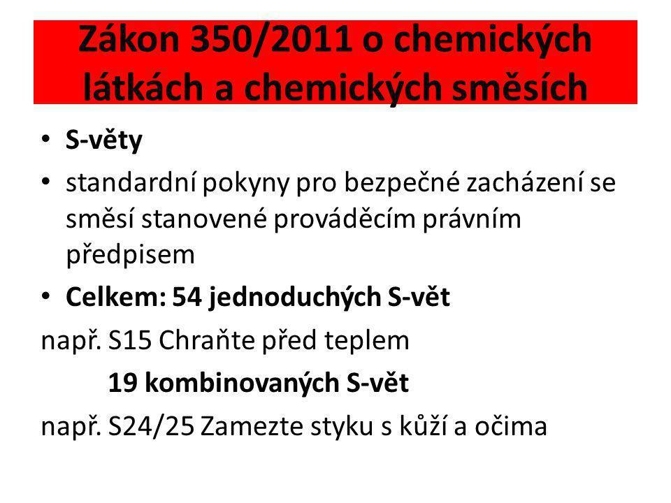 Zákon 350/2011 o chemických látkách a chemických směsích • S-věty • standardní pokyny pro bezpečné zacházení se směsí stanovené prováděcím právním pře