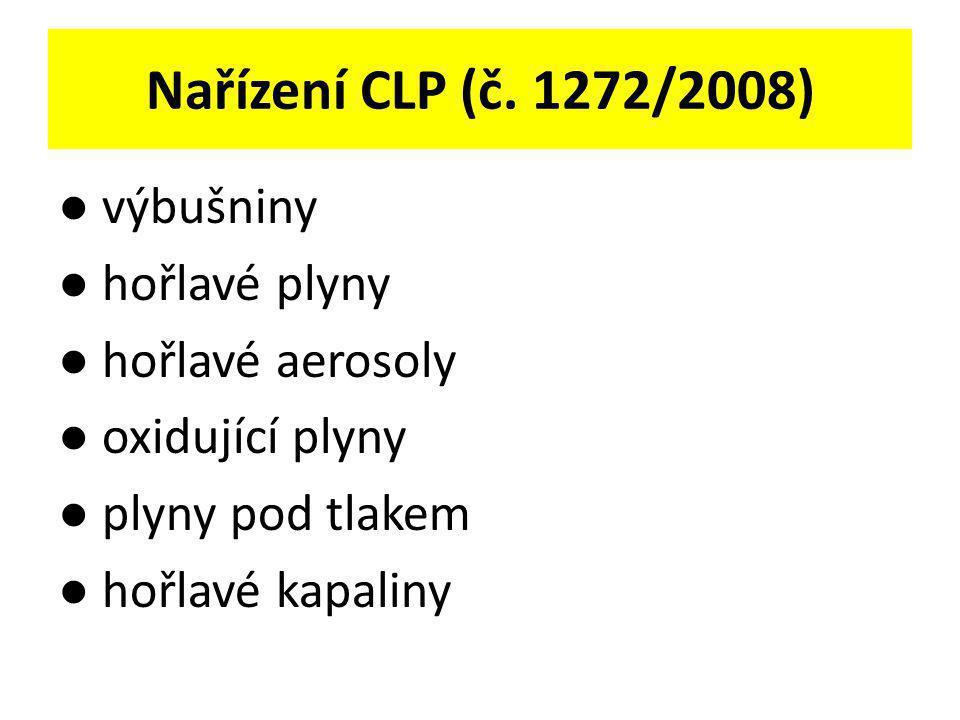 Nařízení CLP (č. 1272/2008) ● výbušniny ● hořlavé plyny ● hořlavé aerosoly ● oxidující plyny ● plyny pod tlakem ● hořlavé kapaliny