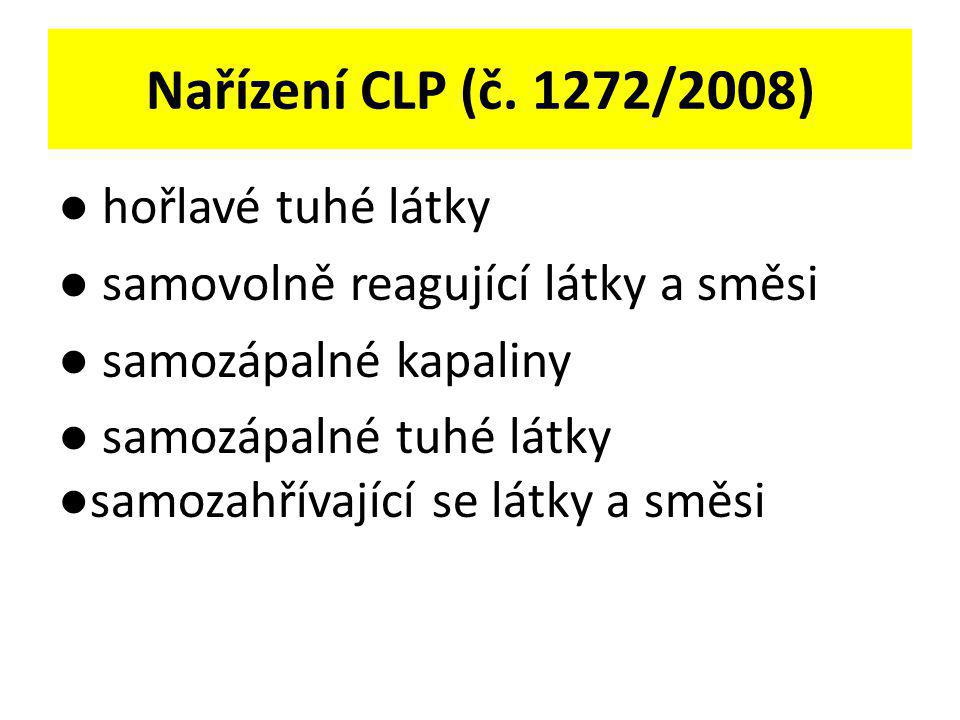 Nařízení CLP (č. 1272/2008) ● hořlavé tuhé látky ● samovolně reagující látky a směsi ● samozápalné kapaliny ● samozápalné tuhé látky ●samozahřívající