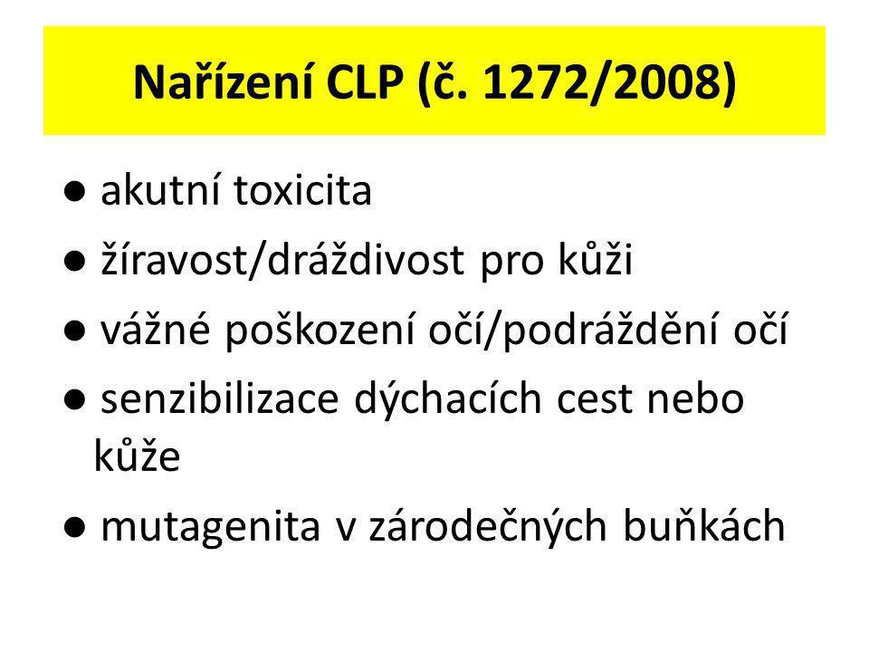 Nařízení CLP (č. 1272/2008) ● akutní toxicita ● žíravost/dráždivost pro kůži ● vážné poškození očí/podráždění očí ● senzibilizace dýchacích cest nebo