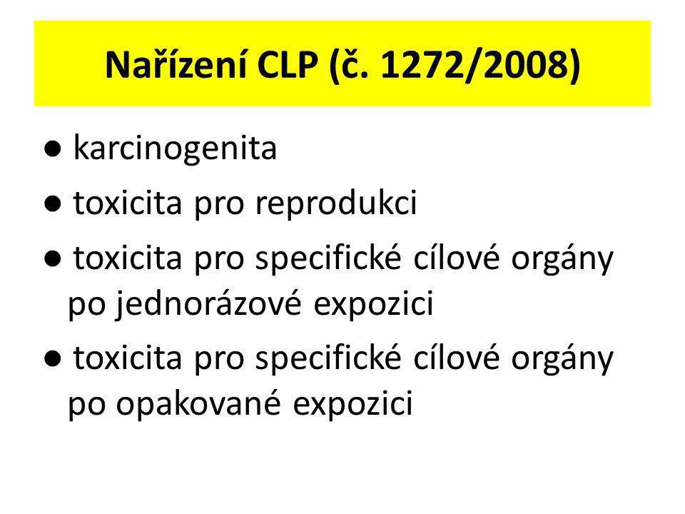 Nařízení CLP (č. 1272/2008) ● karcinogenita ● toxicita pro reprodukci ● toxicita pro specifické cílové orgány po jednorázové expozici ● toxicita pro s