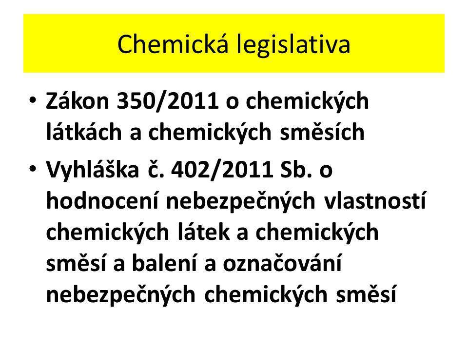 Chemická legislativa • Zákon 350/2011 o chemických látkách a chemických směsích • Vyhláška č. 402/2011 Sb. o hodnocení nebezpečných vlastností chemick