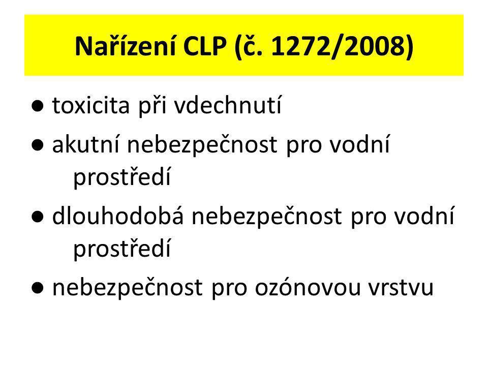 Nařízení CLP (č. 1272/2008) ● toxicita při vdechnutí ● akutní nebezpečnost pro vodní prostředí ● dlouhodobá nebezpečnost pro vodní prostředí ● nebezpe
