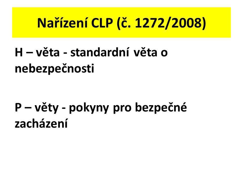Nařízení CLP (č. 1272/2008) H – věta - standardní věta o nebezpečnosti P – věty - pokyny pro bezpečné zacházení