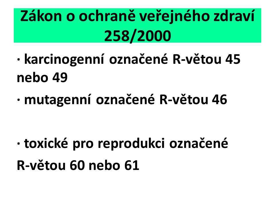 Zákon o ochraně veřejného zdraví 258/2000 ∙ karcinogenní označené R-větou 45 nebo 49 ∙ mutagenní označené R-větou 46 ∙ toxické pro reprodukci označené
