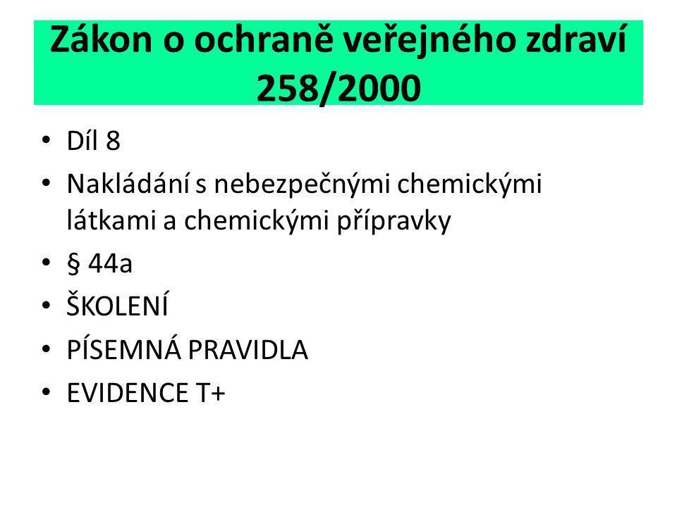 Zákon o ochraně veřejného zdraví 258/2000 • Díl 8 • Nakládání s nebezpečnými chemickými látkami a chemickými přípravky • § 44a • ŠKOLENÍ • PÍSEMNÁ PRA