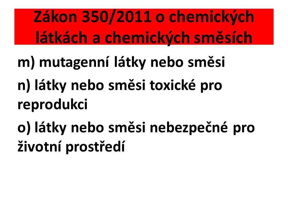 Zákon 350/2011 o chemických látkách a chemických směsích m) mutagenní látky nebo směsi n) látky nebo směsi toxické pro reprodukci o) látky nebo směsi